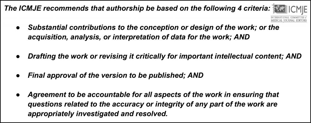 Appropriate authorship guidelines from ICJME